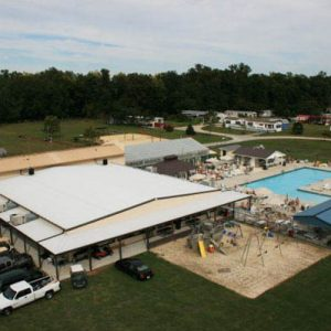 Aerial view of swimming pool at White Tail Resort