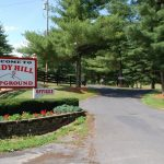 welcome sign at entrance to Candy Hill Campground in Virginia