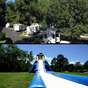 RV sites and inflatable slide at American Heritage RV Park