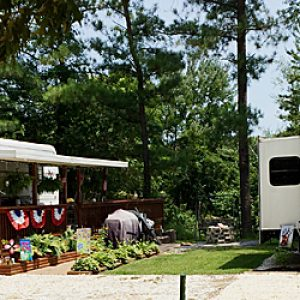 campsite at Rainbow Acres Campground in King and Queen Court House, VA