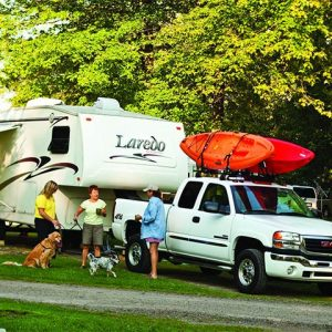 Family with dog at RV site