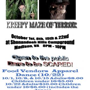 2016 Shenandoah Hills Campground Halloween Flyer
