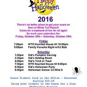 2016 Halloween flyer for White Tail Resort
