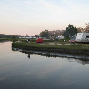 Waterfront camping sites at Jellystone Park in Gloucester Point VA