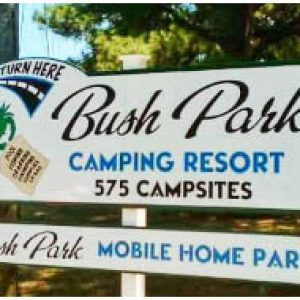 bush park camping resort in wake va sign
