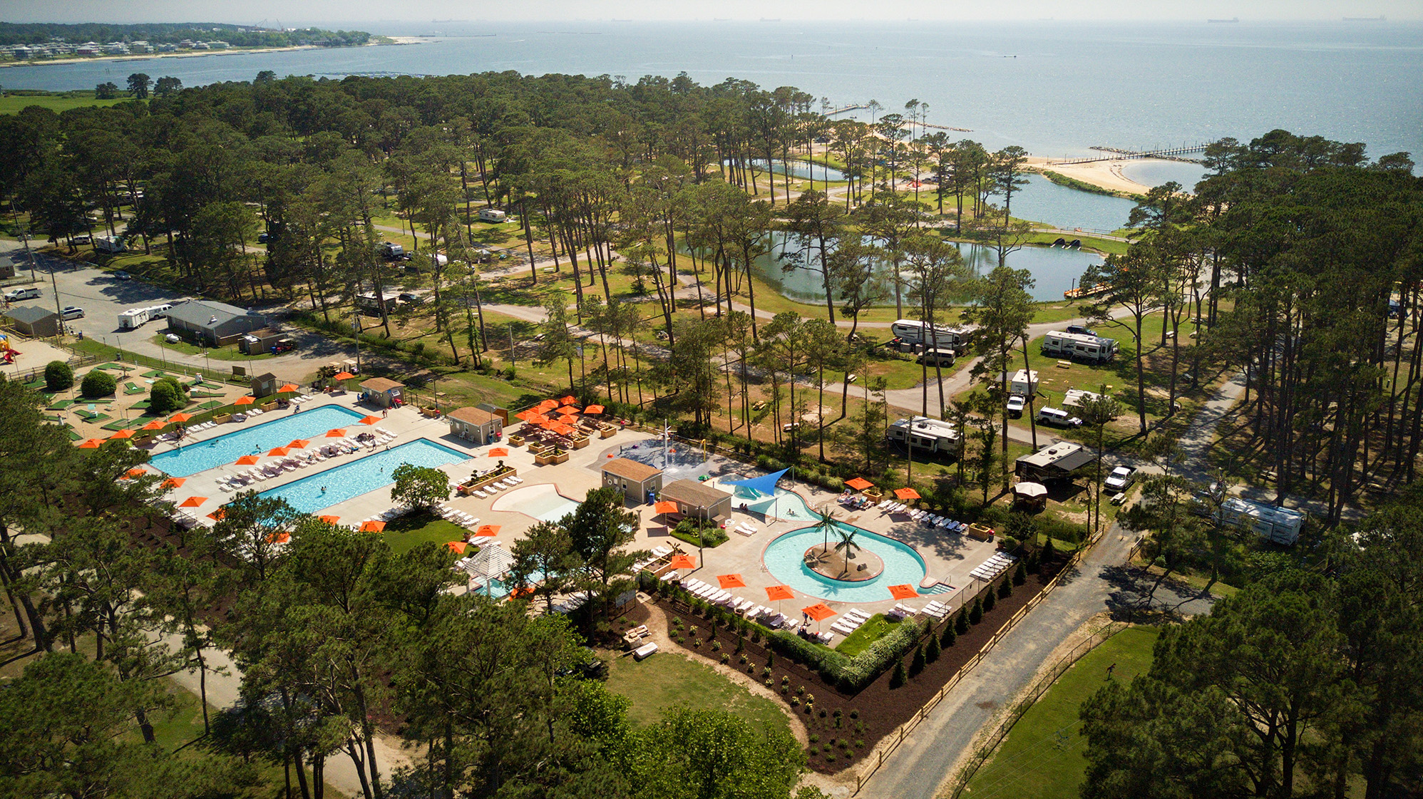 aerial photo of cherrystone family camping resort