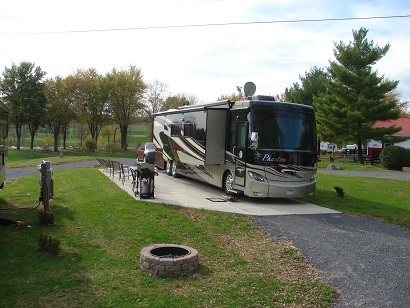 RV on site at Candy Hill Campground